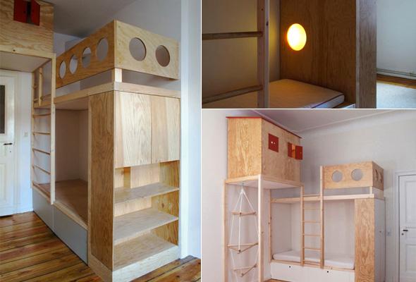 Etagenbett Für Kinder Mit Stauraum : Kinderzimmer etagenbett hochbett mit treppe und stauraum