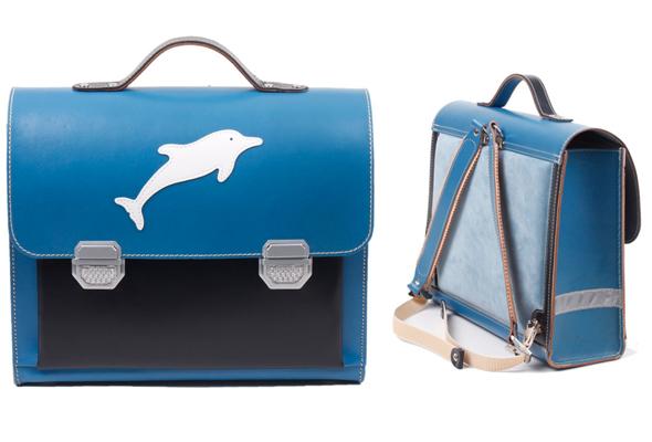 Schulranzen aus Leder mit Delfin