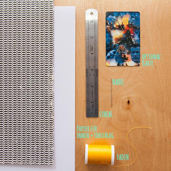 Buch selber binden - Material