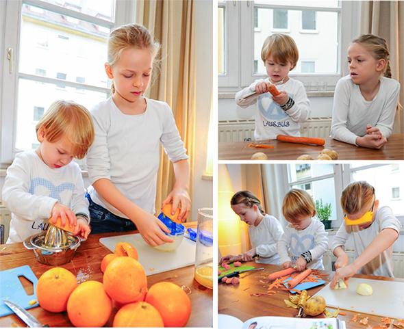 Anna, Marie und Peter bereiten die Zutaten für das Brathähnchen vor