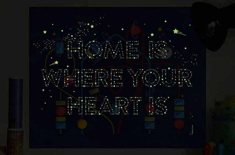 stellavie print home-is-where-your-heart-is-glow-in-the-dark-mood-large
