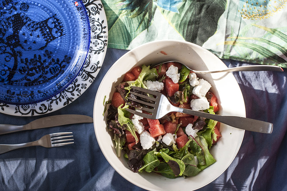 wassermelonen salat mit ziegenkaese rezept