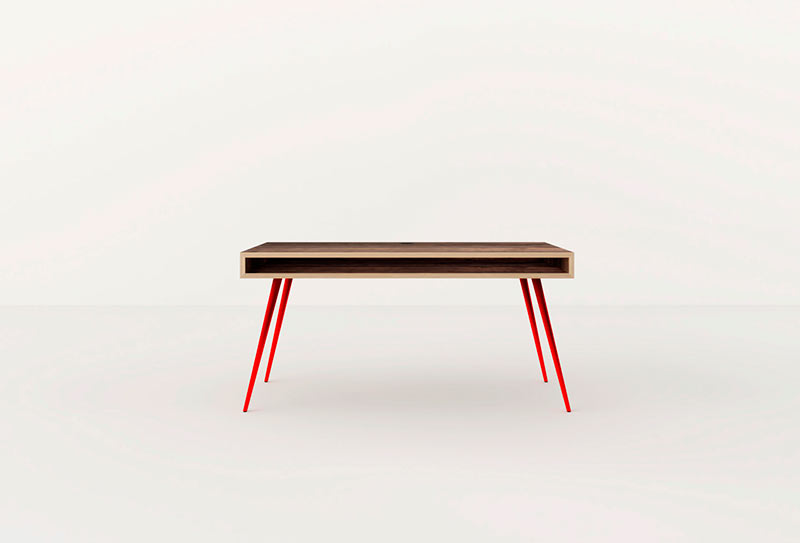 wooden spaces office table red